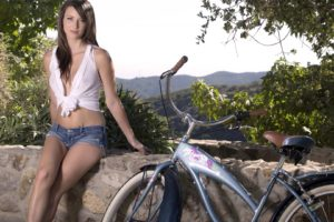 women, Boobs, Malena Morgan, Mountain bikes, Sexy