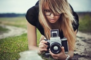 women, Glasses, Canyon, Blonde, Long hair, Camera