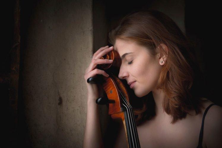 women, Model, Brunette, Long hair, Giada Gheri, Violin, Closed eyes, Face, Piercing, Walls, Tank top HD Wallpaper Desktop Background
