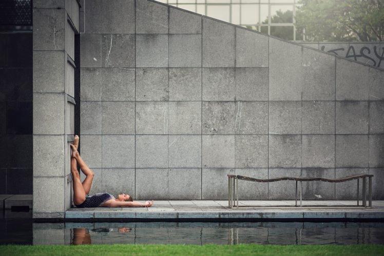 women, Model, Brunette, Long hair, Women outdoors, Water, Walls, Barefoot, Ballerina, Legs up, Closed eyes, Lying on back, One piece swimsuit, Reflection HD Wallpaper Desktop Background
