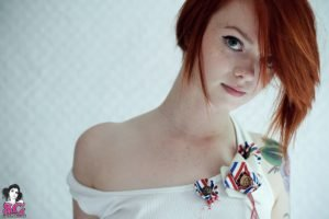 Lass Suicide, Women, Redhead, Suicide Girls, Blue eyes, Tattoo