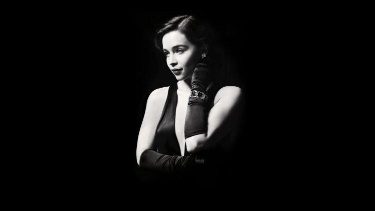 Emilia Clarke, Monochrome, Women HD Wallpaper Desktop Background