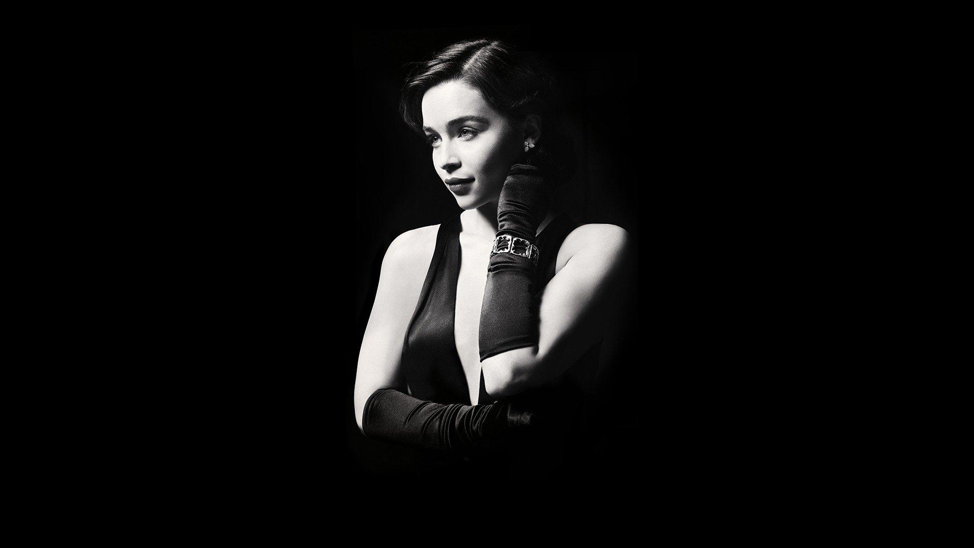 Emilia Clarke, Monochrome, Women Wallpaper