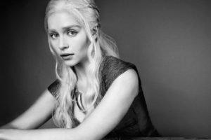 Emilia Clarke, Monochrome, Game of Thrones, Daenerys Targaryen