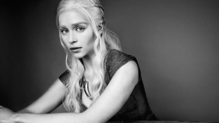 Emilia Clarke Monochrome Game Of Thrones Daenerys Targaryen HD Wallpaper Desktop Background