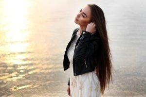 women, Model, Brunette, Long hair, Women outdoors, Water, Sunlight, White dress, Open mouth, Leather jackets