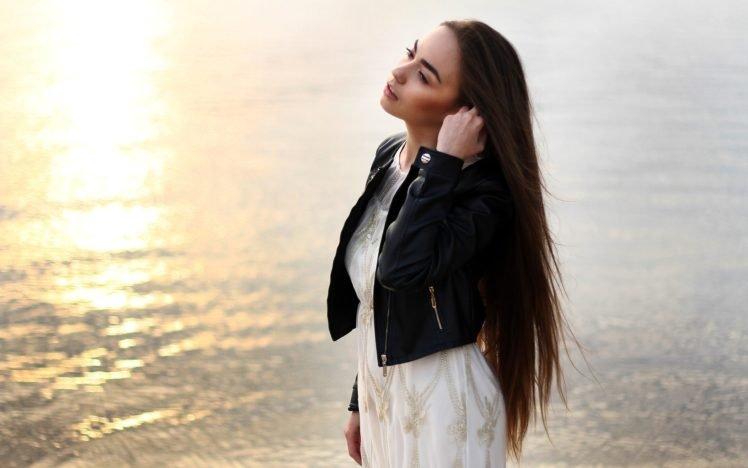 women, Model, Brunette, Long hair, Women outdoors, Water, Sunlight, White dress, Open mouth, Leather jackets HD Wallpaper Desktop Background