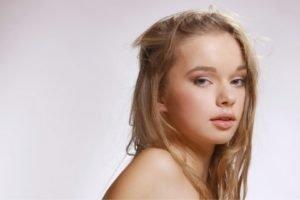 Milena D, Blonde, Women, Gray eyes, Face
