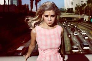 women, Blonde, Purple dresses, Traffic, Photo manipulation, Marina and the Diamonds