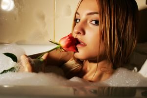 women, Brunette, Flowers, Brown eyes, Bathing, Bubble baths, Kira W
