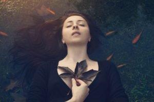 women, Face, Leaves