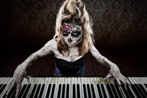women, Model, Face, Long hair, Blonde, Dia de los Muertos, Piano, Playing, Music, Body paint, Rose, Skull, Creepy, Looking at viewer, Black dress, Blue eyes, Wood, Sugar Skull