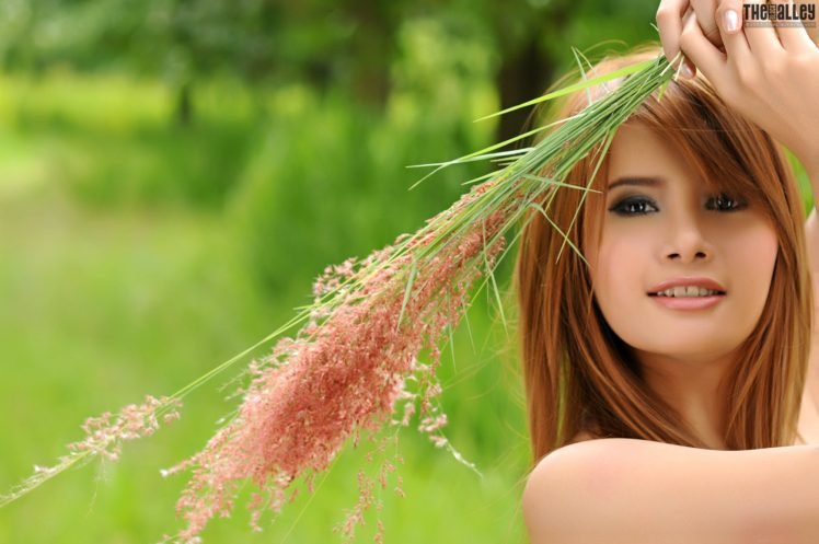 Kathy Cheow, Asian, Women, Redhead, Nature, Grass, Dark eyes HD Wallpaper Desktop Background