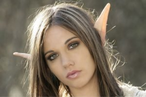 elves, Women, Brunette, Green eyes, Fantasy art, Face, Elven ears