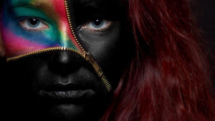 face, Model, Long hair, Portrait, Artwork, Body paint, Colorful, Black, Zippers, Blue eyes, Looking at viewer, Women HD Wallpaper Desktop Background