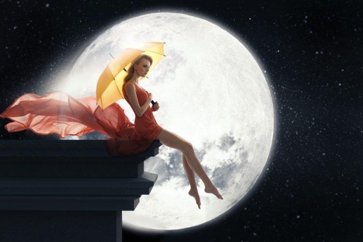 moon, Umbrella, Women, Barefoot HD Wallpaper Desktop Background