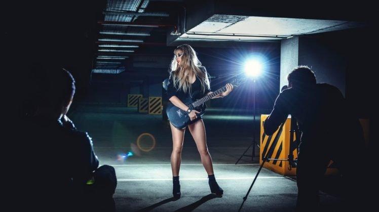 model, Women, Guitar HD Wallpaper Desktop Background