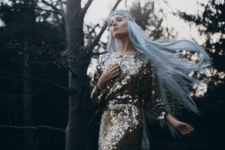 women, Model, Women outdoors, Blue hair, Fashion, Windy HD Wallpaper Desktop Background