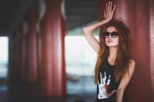 women, Model, Redhead, Black clothing, Sunglasses, Lollipop