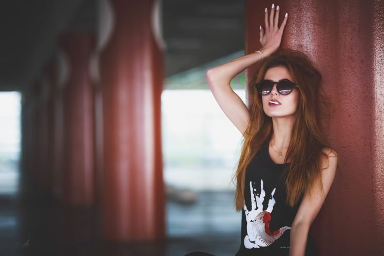 women, Model, Redhead, Black clothing, Sunglasses, Lollipop HD Wallpaper Desktop Background