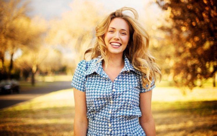 women, Model, Blonde, Long hair, Looking at viewer, Shirt, Women outdoors, Smiling, Happy, Trees, Park, Fall, Windy, Road HD Wallpaper Desktop Background