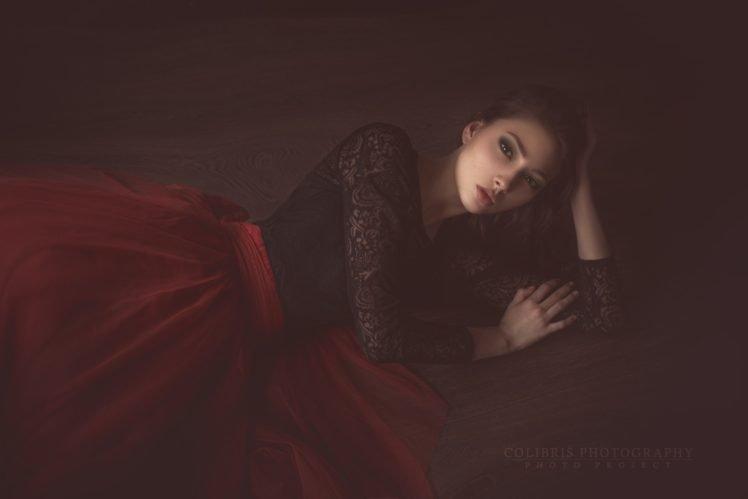 women, Model, Brunette, Brown eyes, On the floor, Red dress HD Wallpaper Desktop Background