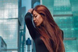 women, Model, Redhead, Eyeliner, Women outdoors, Long hair