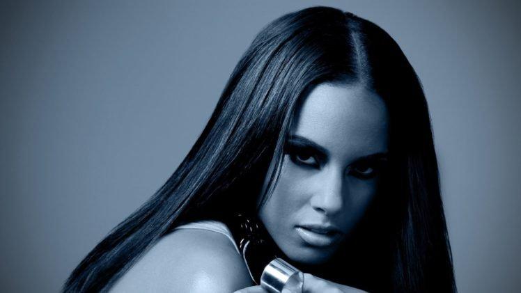 women, Alicia Keys, Brunette, Monochrome HD Wallpaper Desktop Background