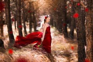 women, Women outdoors, Red dress