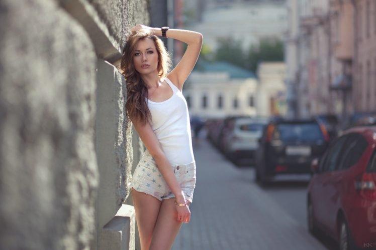 women, Model, Blonde, White tops, Short shorts, Blue eyes, Street, Urban HD Wallpaper Desktop Background