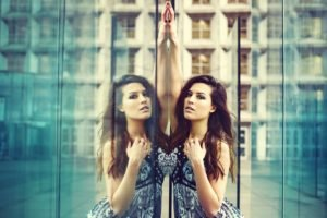 women, Model, Brunette, Smoky eyes, Reflection, Urban, Dress
