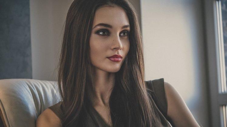 women, Model, Brunette, Hazel eyes, Red lipstick, Glamour HD Wallpaper Desktop Background
