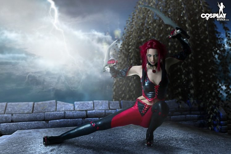 cosplay, Women, Redhead, Sword, Leather clothing, Leather vest, Leather pants, Moon, BloodRayne HD Wallpaper Desktop Background