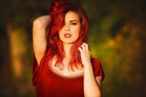 women, Model, Redhead, Red dress, Red lipstick, Brown eyes, Depth of field