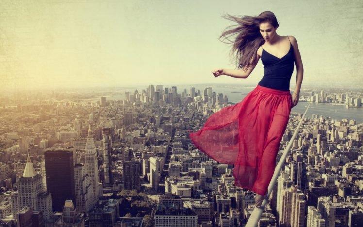 ropes, Brunette, Women, Building, Adobe Photoshop HD Wallpaper Desktop Background