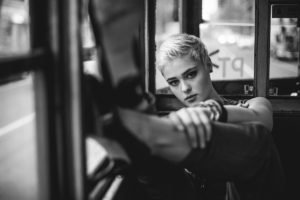 women, Model, Short hair, Blonde, Stefania Ferrario, Looking at viewer, High heels, Monochrome, Vehicle interiors, Face, Depth of field