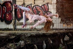 women, Model, Long hair, Redhead, Women outdoors, Ruin, Abandoned, Bricks, Tiles, Graffiti, Coats, High heels, Closed eyes, Photo manipulation