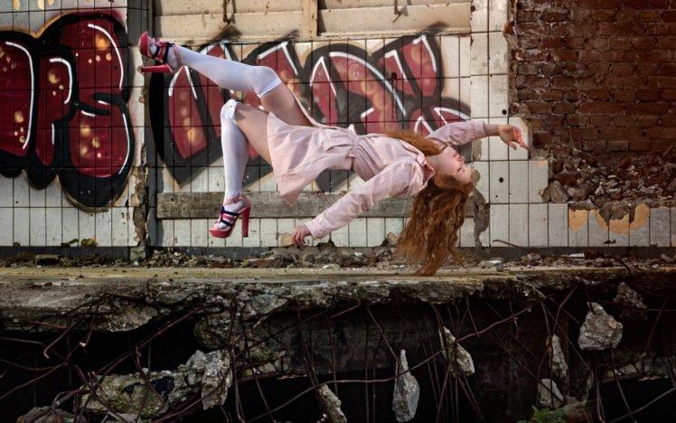 women, Model, Long hair, Redhead, Women outdoors, Ruin, Abandoned, Bricks, Tiles, Graffiti, Coats, High heels, Closed eyes, Photo manipulation HD Wallpaper Desktop Background