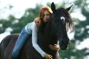 women, Model, Long hair, Redhead, Women outdoors, Nature, Animals, Horse, Horse riding, Trees, Blue eyes, Jeans, Looking at viewer, Hugging