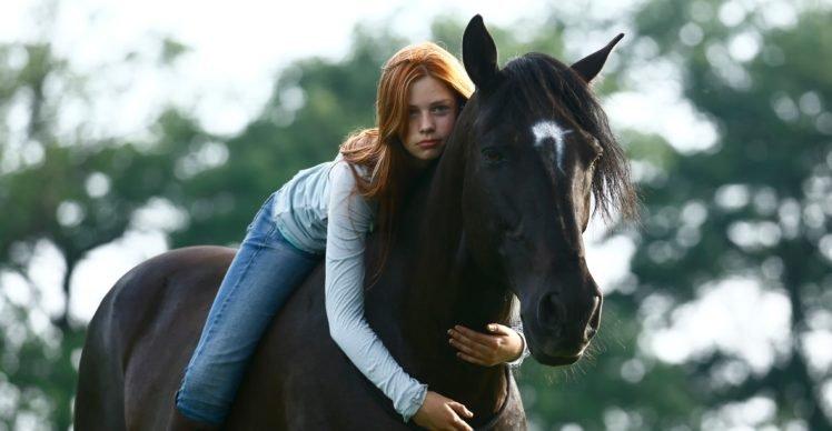 women, Model, Long hair, Redhead, Women outdoors, Nature, Animals, Horse, Horse riding, Trees, Blue eyes, Jeans, Looking at viewer, Hugging HD Wallpaper Desktop Background