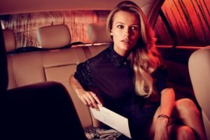 women, Blonde, Edita Vilkeviciute, Car, Model, Dress, Legs  crossed