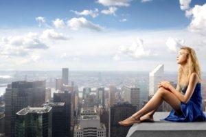 women, Blonde, Dress, Blue dress, City, Cityscape, Skyscraper