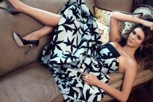 women, Nina Dobrev, Actress, Brunette, Dress, High heels, Lying down