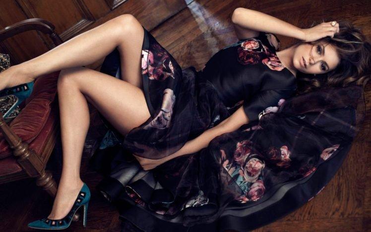 women, Nina Dobrev, Actress, Brunette, Dress, High heels, Lying down HD Wallpaper Desktop Background