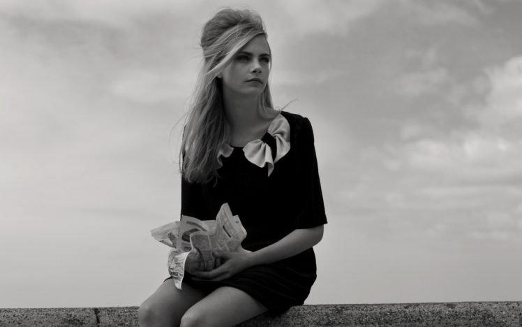 Women, Model, Blonde, Cara Delevingne, Actress, Singer, Celebrity, Monochrome, Women -9315