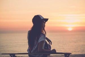 women, Brunette, Sunset, Longboards