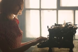women, Blonde, Typewriters