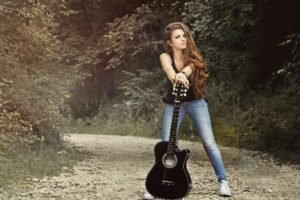 women, Model, Brunette, Women outdoors, Guitar, Smoky eyes