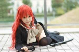women, Cosplay, Shakugan no Shana, Redhead, Katana