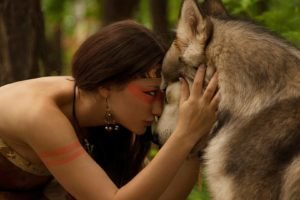 women, Brunette, Wolf, Animals